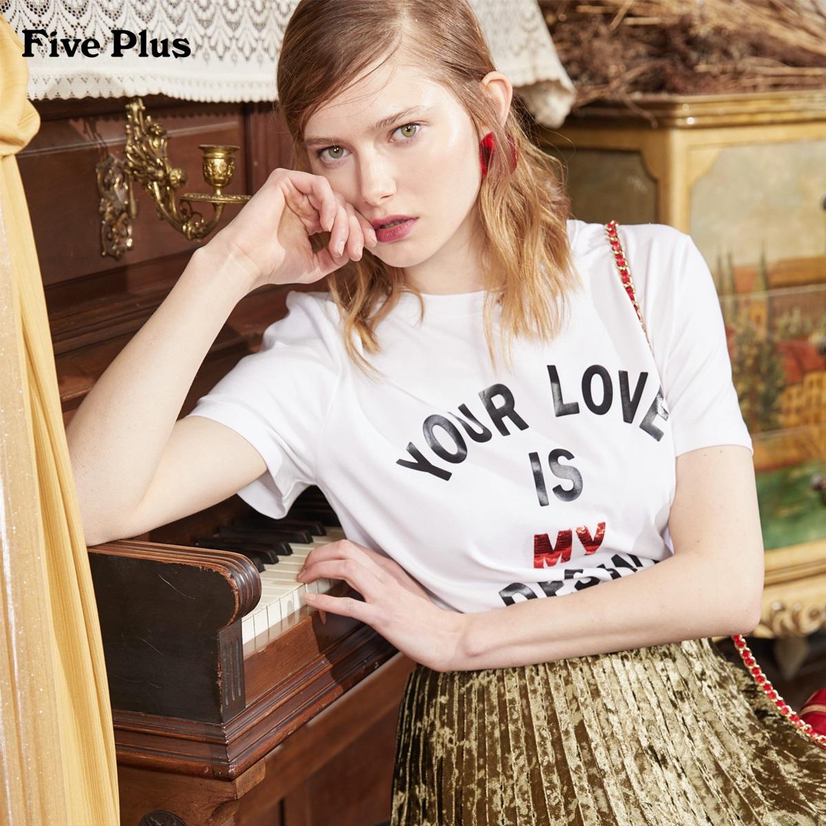 Five Plus2018新款女装纯棉宽松T恤女短袖潮字母图案圆领套头衫