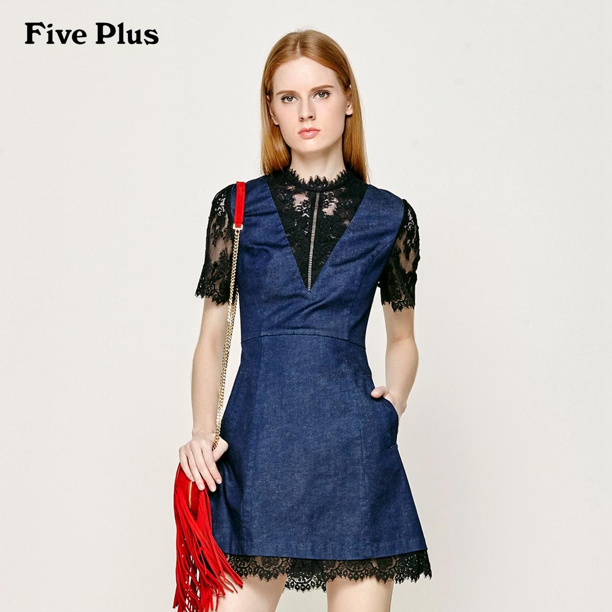 Five Plus新女夏装棉质拼接蕾丝高腰牛仔连衣裙短裙2JM2083130