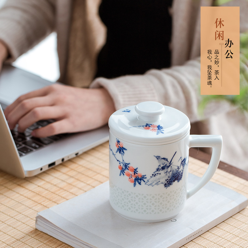 Jingdezhen blue and white porcelain tea cups and exquisite hand - made office cup of ceramic filter cup tea separate tea cup home