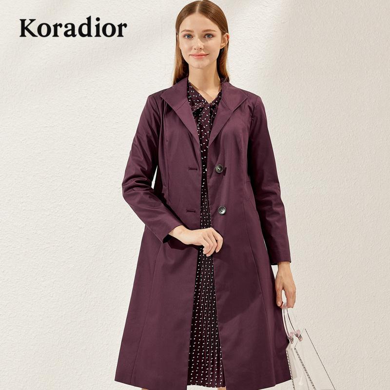 Koradior-珂莱蒂尔品牌女装2018秋装新款中长款修身时尚气质风衣