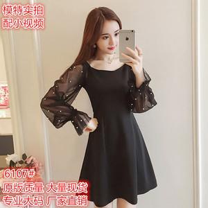 新品胖MM巨显瘦修身灯笼袖连衣裙