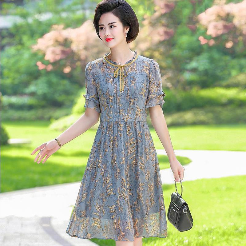 妈妈夏装短袖雪纺裙子气质新款40岁中老年女阔太太洋气高贵连衣裙
