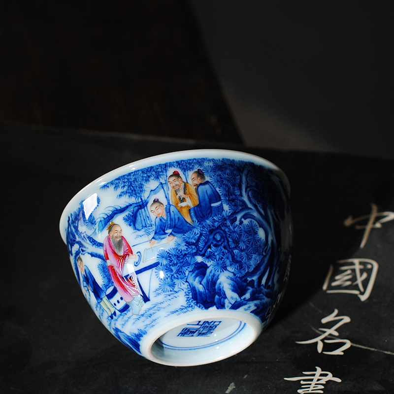 【 5.3 】 jingdezhen pure manual hand - made porcelain dou color chart master cup, wise men