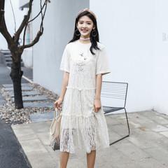 实拍 吊带蛋糕网纱连衣裙两件套夏中长款韩版学院宽松印花短袖裙