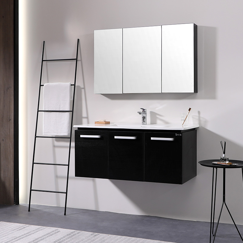 百德嘉实木浴室柜组合现代简约洗漱台卫生间洗脸盆柜吊柜卫浴镜柜
