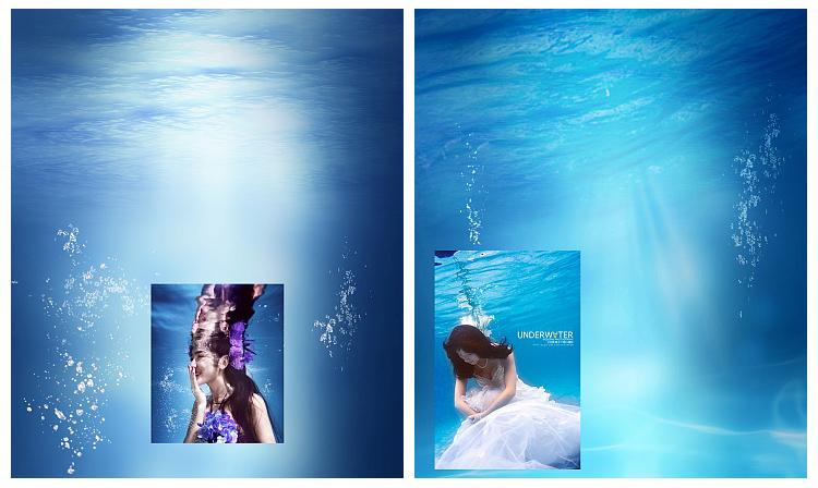 高清psd分层海底阳光光线素材水下婚纱摄影梦幻合成