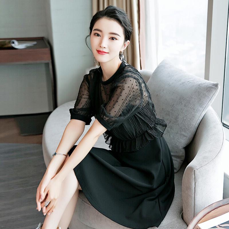 秋装女2018新款雪纺拼接黑色连衣裙假两件名媛气质chic显瘦小黑裙