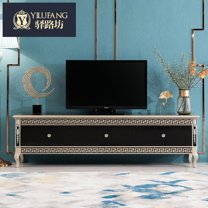 欧式茶几电视柜组合新古典卧室电视柜实木主卧后现代黑色地柜高柜