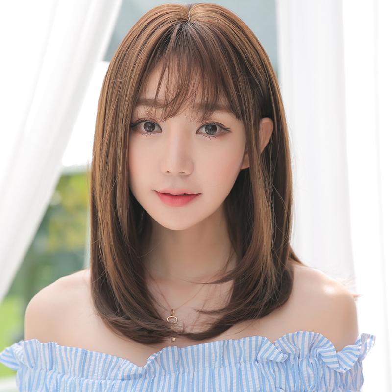 假发女长直发空气刘海全头套隐形无痕自然气质锁骨发网红中长发型