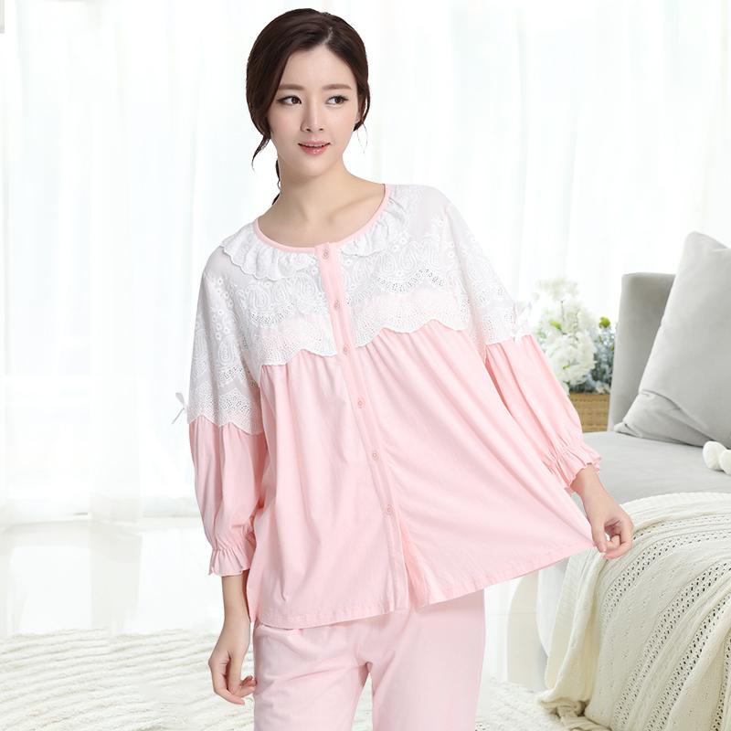 粉猫妈妈月子服春秋纯棉孕产妇睡衣薄款夏喂奶衣产后轻薄全棉哺乳