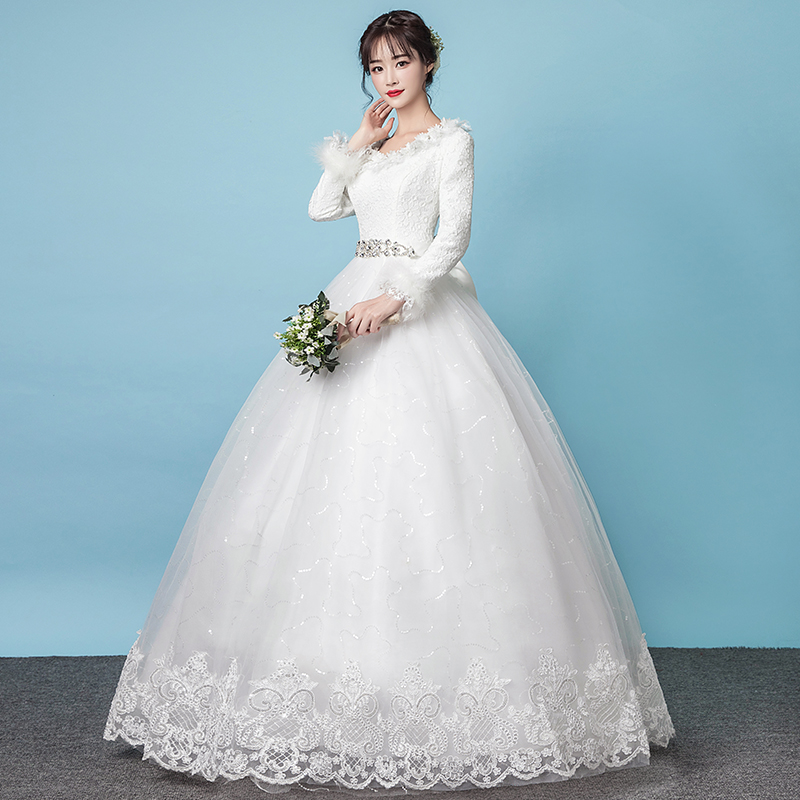Wedding Dress 2017 New Winter Korean Bride Thick Cotton Was Thin Long Sleeve Simple European And American