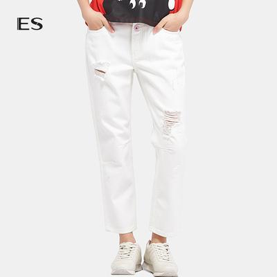 艾格ES个性纯色破洞直筒宽松牛仔裤长裤女17032306988