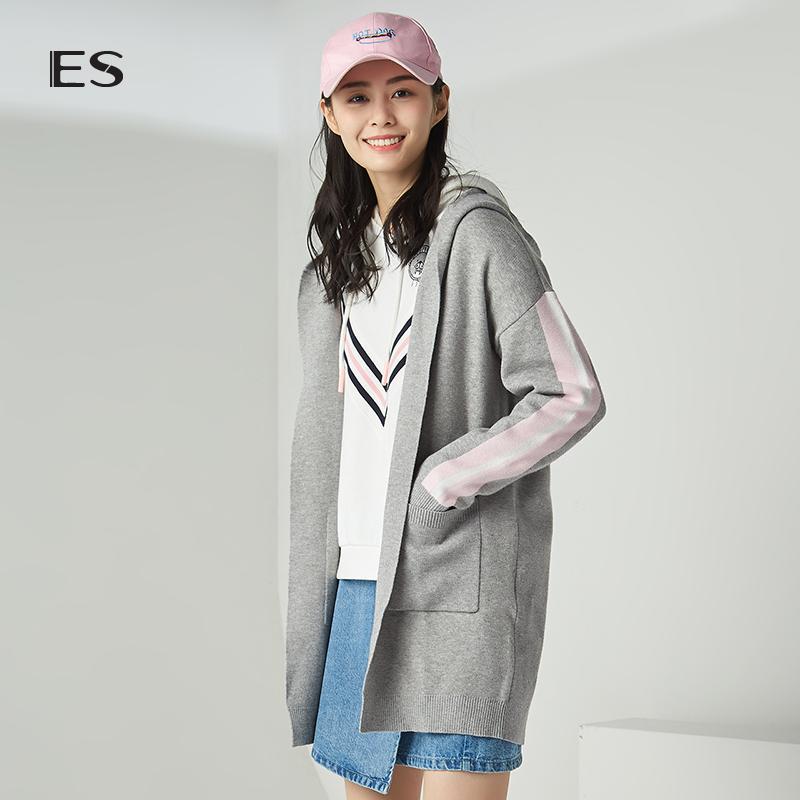 艾格ES2018秋季新款女纯色宽松连帽中长款毛针织开衫8E031602861