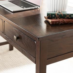 2平米 实木书桌1.2米红橡木书桌1.4米办公桌电脑桌书桌 美式简约家具