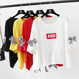 韩版印花字母蝴蝶结学生圆领T恤