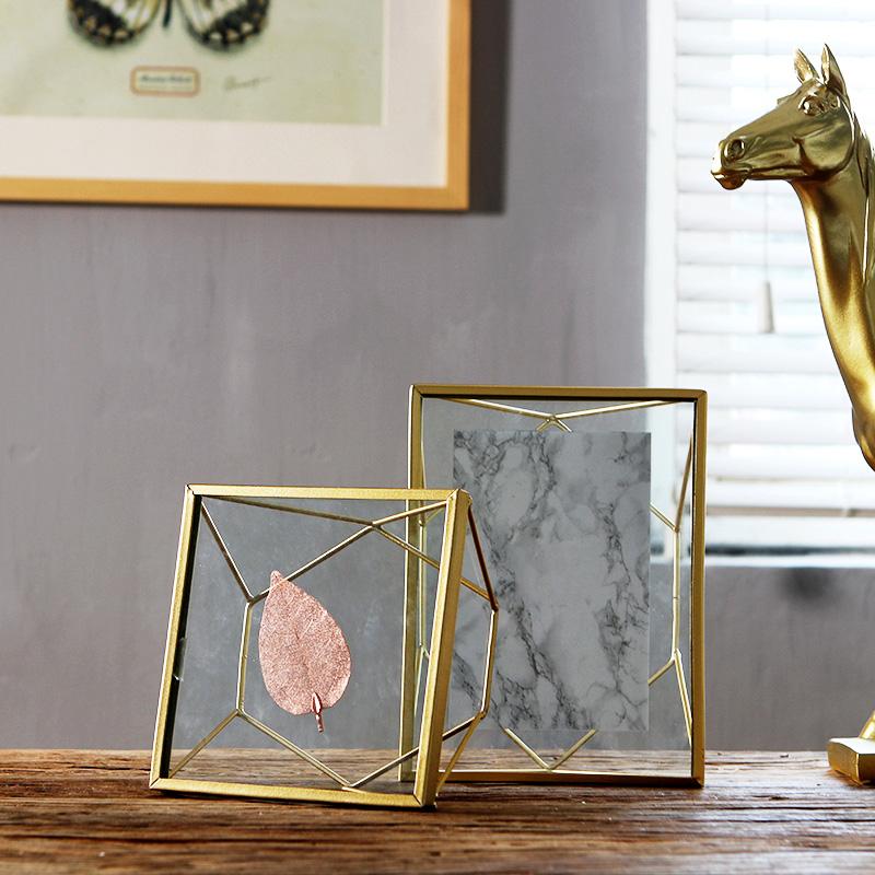 tiempo suave de metal nórdico adornos de pared de vidrio marco de ...