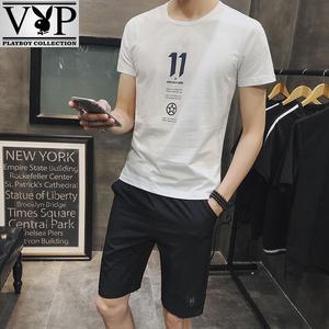 花花公子贵宾夏季新款套装男短袖T恤5分钟青春潮流个性两件装套装
