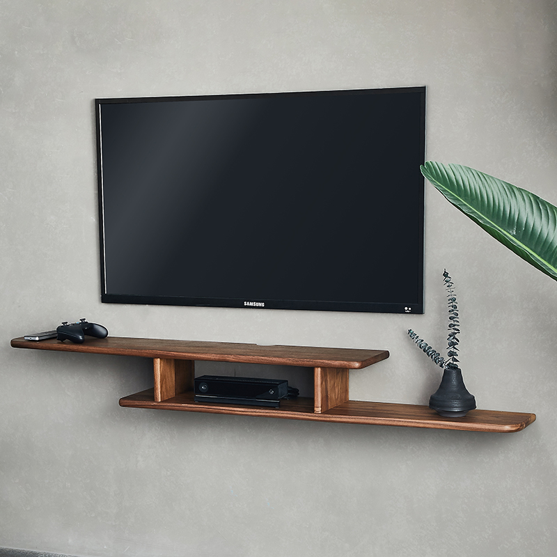 墙上机顶盒架实木简约卧室壁挂电视柜客厅黑胡桃木置物架北欧家具