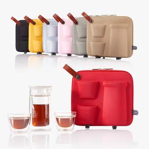 哲品月影随身装玻璃茶具套装2人旅行户外家用茶杯茶壶便携包整套