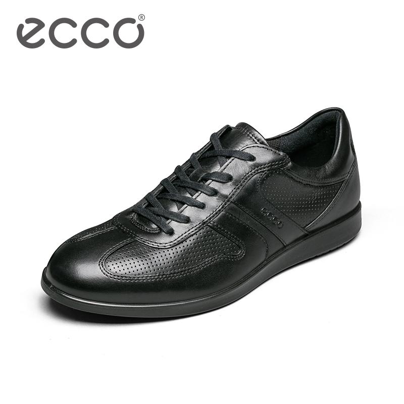 ECCO爱步2018春夏休闲男鞋 系带轻盈圆头休闲皮鞋 因迪纳630764