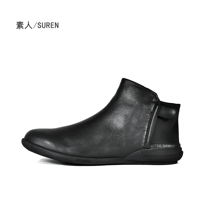 素人原创设计 轻巧弹性面料后跟真皮女短靴单鞋 16DWY057
