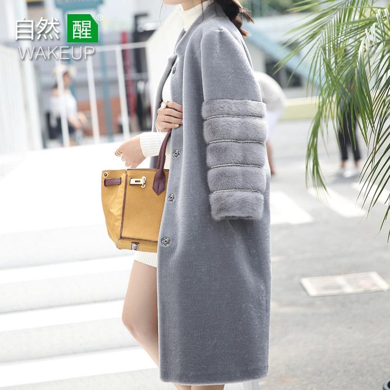 反季羊剪绒大衣女新款2018冬季水貂气质洋气长袖中长款皮草外套