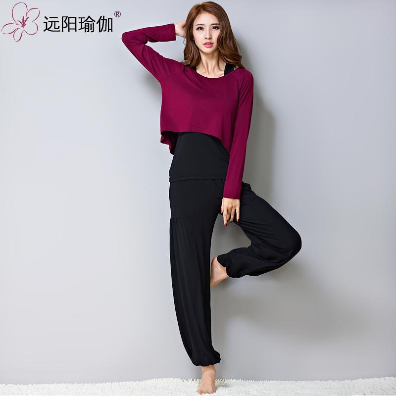 远阳瑜伽服2018五分长袖三件套装健身房运动服大码女瑜珈舞蹈服