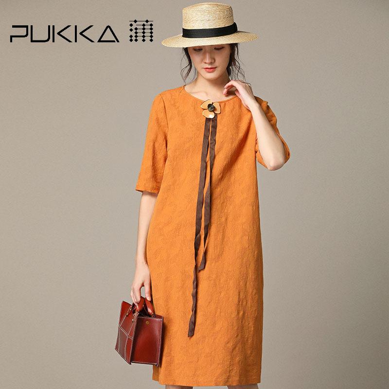 Pukka蒲牌棉麻中袖连衣裙女肌理提花原创设计女装2018秋装新款