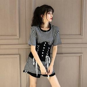 9373实拍实价 韩国Chic显瘦黑白格短袖中长T恤裙女配束...