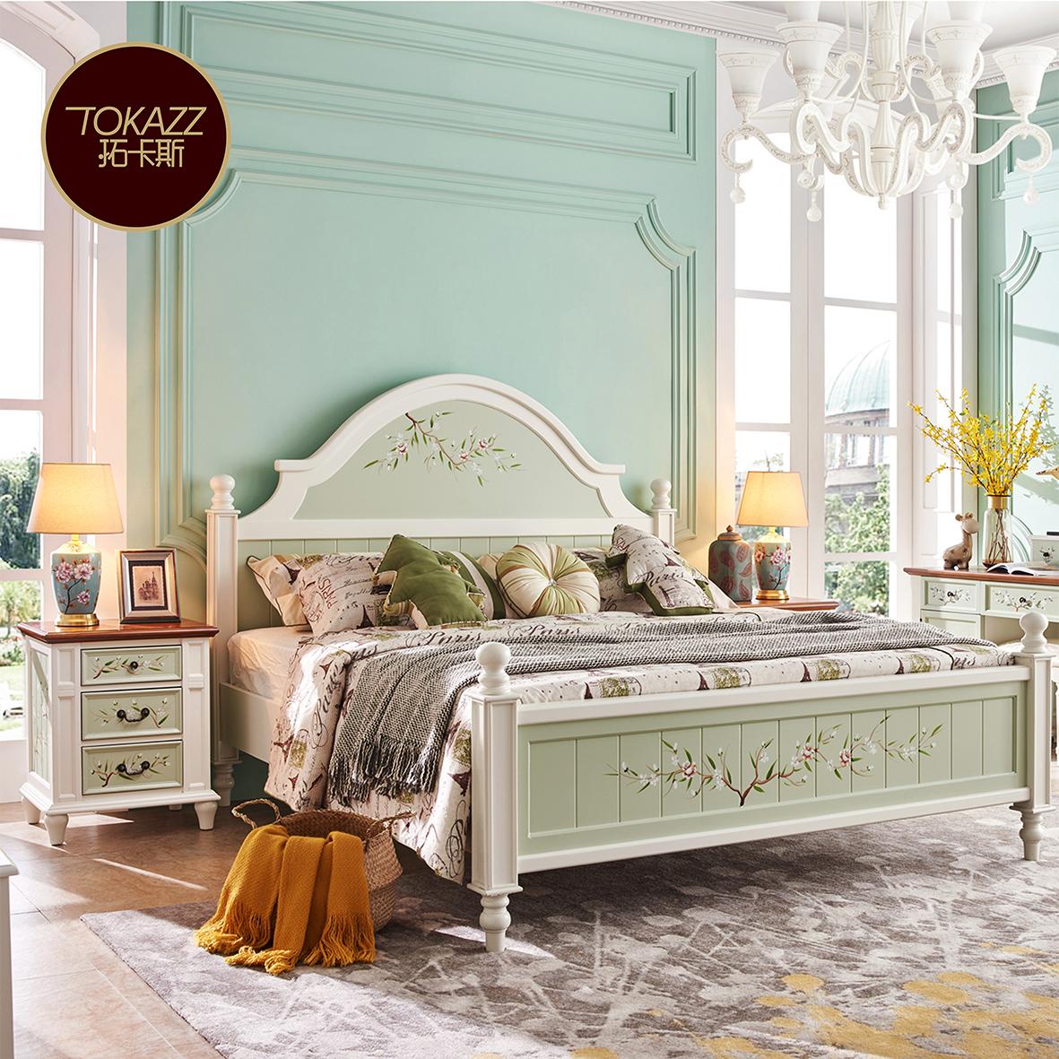 美式乡村主卧床实木彩绘田园单双人欧式公主床地中海现代简约婚床