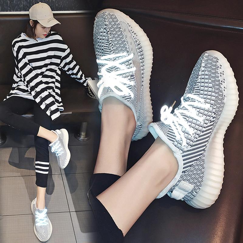 椰子网红女鞋2019春350新款满天星跑步鞋ins反光天使运动鞋老爹鞋
