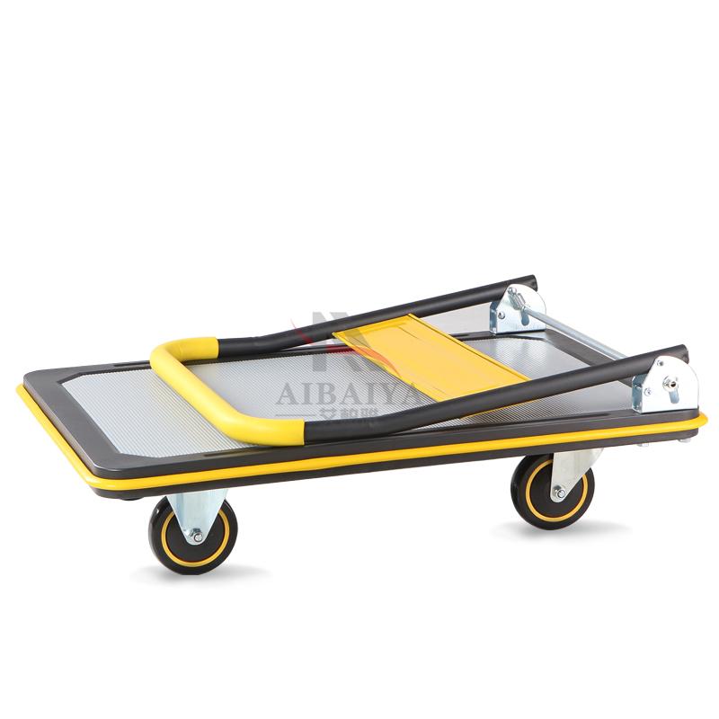 Торговые тележки Складной металлический немого платформы четырехколесные коляски Потяните складывающиеся прицеп движущихся грузовиков корзину инструмент корзину