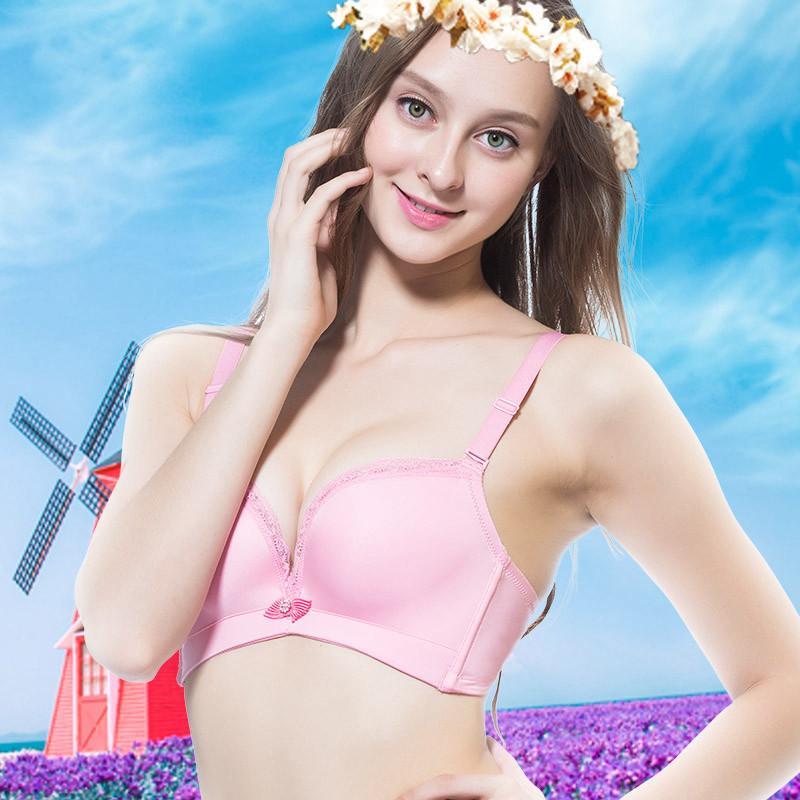 一片式光面文胸上托性感无钢圈收副乳中年胸罩透气舒适内衣女聚拢