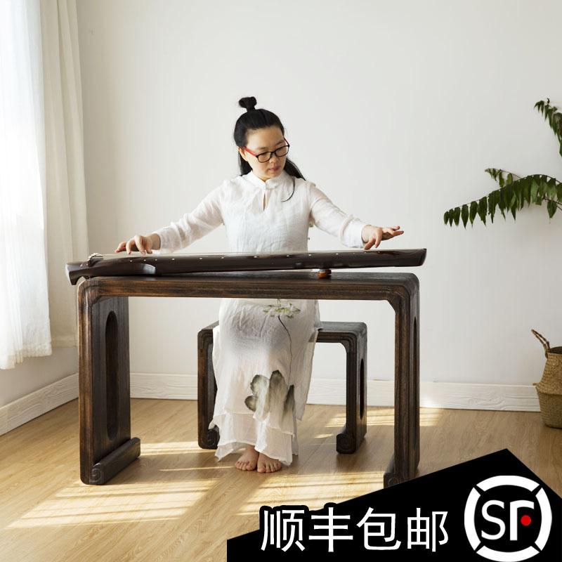 天兰美 专业制造古琴桌凳 老桐木实木共鸣箱琴桌 琴凳画案国学桌