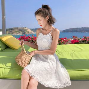 7097#  新款度假风蕾丝小礼服性感露背连衣裙三亚海边沙滩...