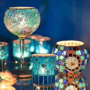 欧式马赛克地中海玻璃蜡烛台杯摆件浪漫烛光晚餐西餐七夕布置道具