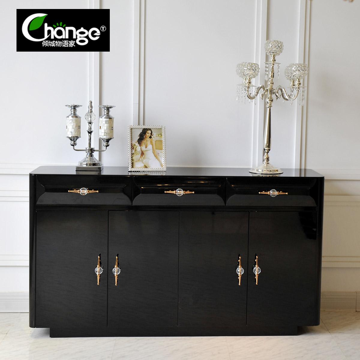新古典后现代简约鞋柜钢琴烤漆欧式玄关柜间厅边柜大容量储物柜