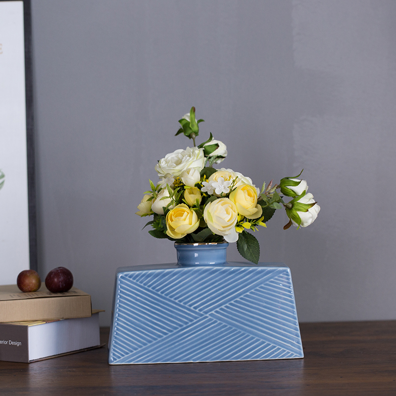 The New Chinese style soft outfit ceramic wine counter crispy noodles machine flower arranging floor furnishing articles, the sitting room porch vase craft ornaments