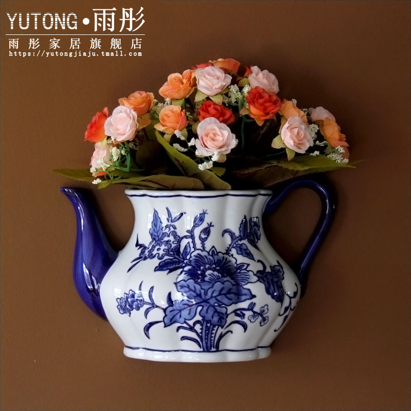 Jingdezhen blue and white porcelain ceramic flower hanging wall act the role ofing household decorative furnishing articles ceramic wall hanging butterfly