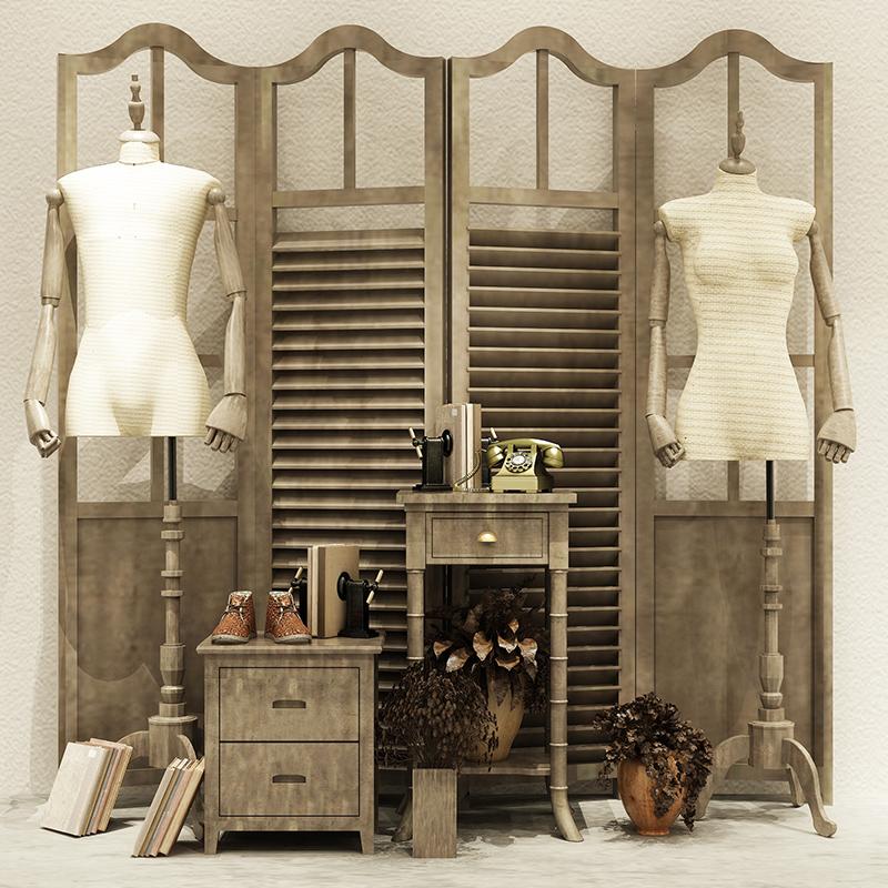 唯力固简约实木服装店展示架落地式中岛架橱窗架流水台衣服挂衣架