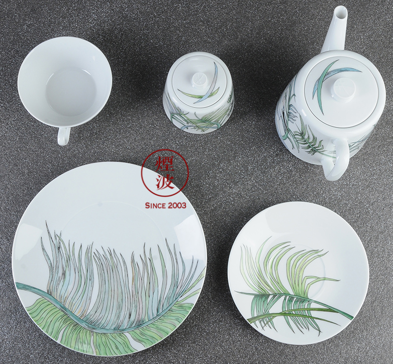 German mason Cosmopolitan MEISSEN porcelain color palm trees tea sets suit