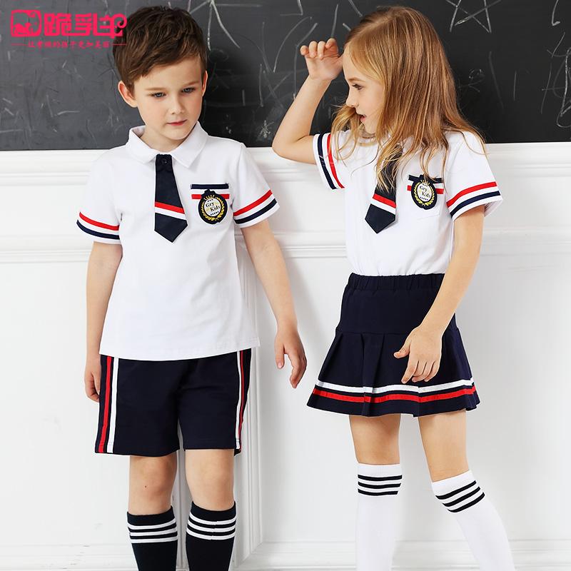 幼儿园园服夏装女童校服套装小学生短袖班服英伦夏季表演服装定制