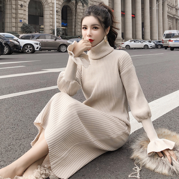 Real Shot Autumn And Winter New Detachable High Neck Collar & Knit Dress