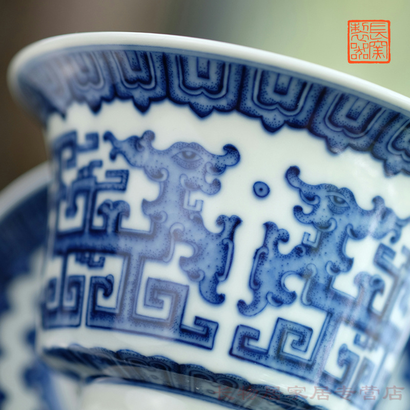 Hand made blue and white dragon grain only three tureen offered home - cooked ju long up system, jingdezhen ceramic retro blue and white porcelain tea set