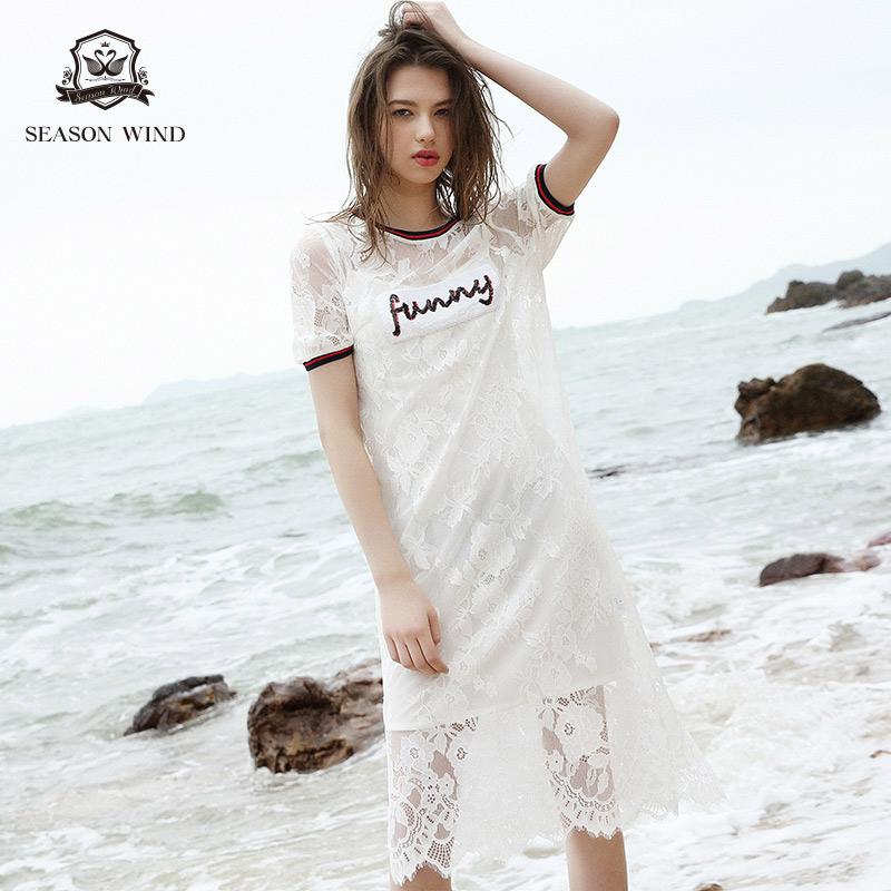 季候风2018夏季新款性感时尚圆领镂空气质休闲短袖蕾丝连衣裙女