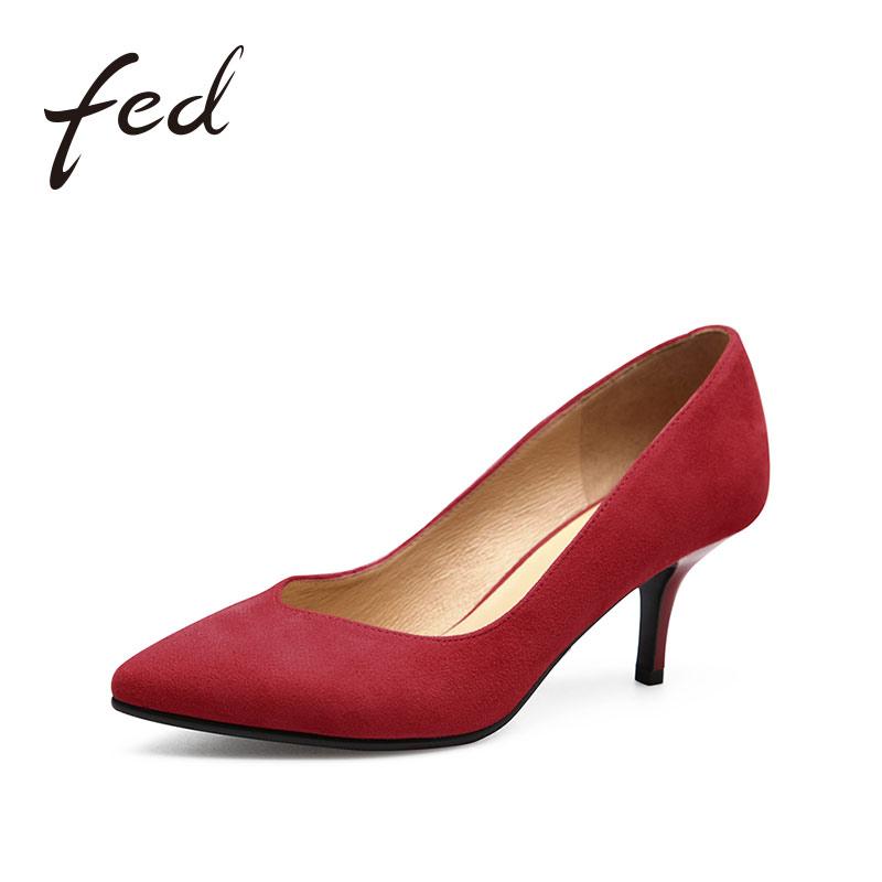 fed2017新款浅口羊绒尖头高跟鞋休闲v口细跟女单鞋猫跟鞋1886275