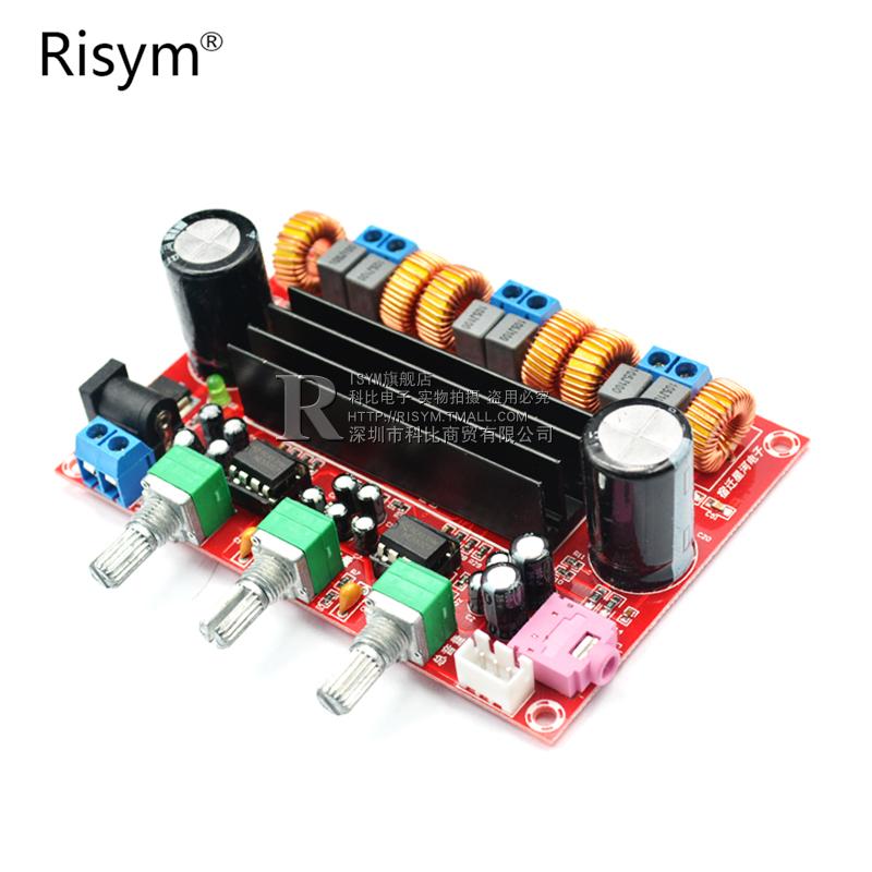 2.1声道数字功放板12V-24V电压TPA3116D2 2*50W+100W功放模块diy