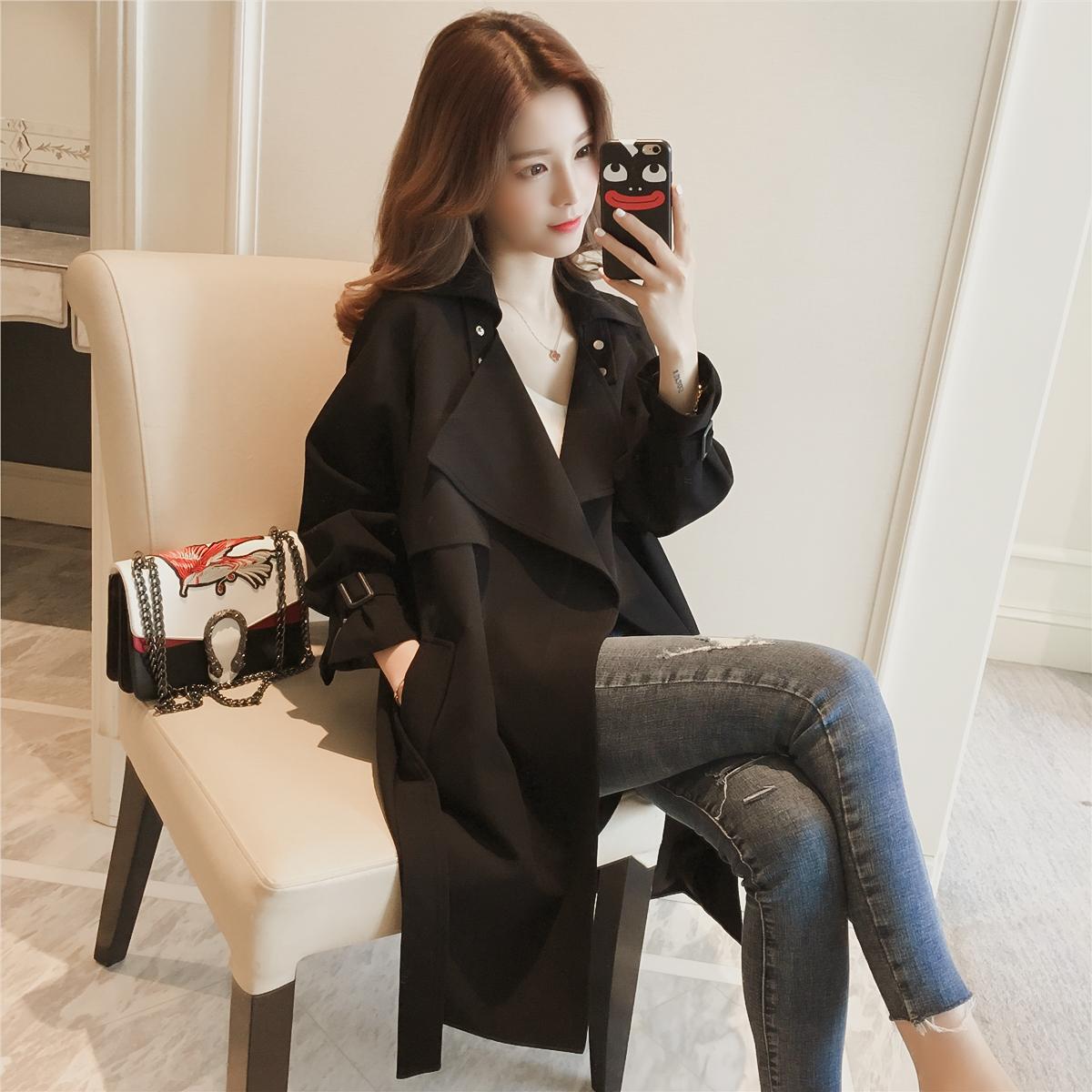 23区 2017秋季新款韩版气质中长款宽松大翻领黑色风衣女装长袖收腰外套