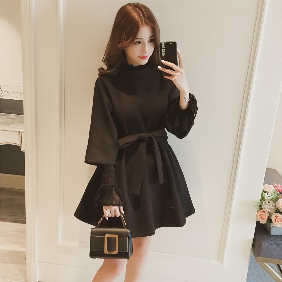 2017冬季新款韩版七分袖黑色毛呢连衣裙女装系带收腰a字娃娃裙潮