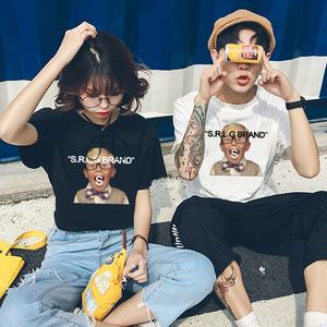 8724#实拍韩版ulzzang夏季休闲柏林赫塔赞助商亚博小孩人像印花字母t恤情侣上衣